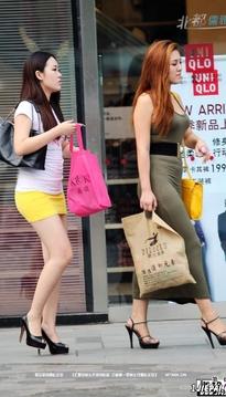 黄色包臀裙与墨绿长裙高跟鞋MM(10P).