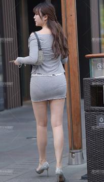 街拍包臀裙短裙美女DFU104J