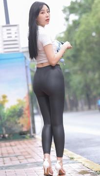街拍紧身皮裤丰臀肥臀美女25KH01